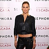 Bar Refaeli showed midriff at an NYC event.