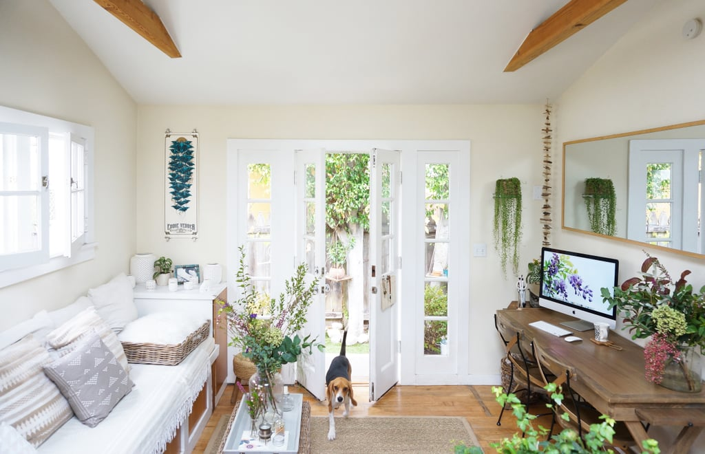 """""""While it might seem natural to buy small accessories and home goods when outfitting a tiny room, I've found that getting rid of clusters of little tchotchkes and replacing them with a single, medium-sized statement piece is usually much more visually appealing, and helps avoid clutter."""" This is sage advice no matter what size space you live in!"""