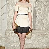Nora Zehetner looked lovely in a sculptural off-the-shoulder top. Source: Matteo Prandoni/BFAnyc.com