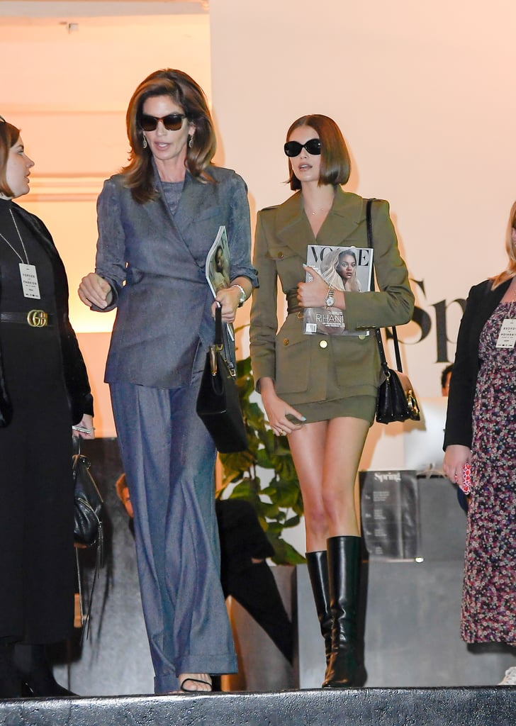 Cindy Crawford and Kaia Gerber Wearing Coordinating Business-Chic Looks and Sunglasses  in 2019