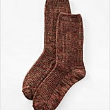 Keep toasty with these autumnal-hued J. Jill tweed-textured crew socks ($7). Inasmuch, wear them layered over a skinny jean and heeled boots, then add a fisherman sweater on top.