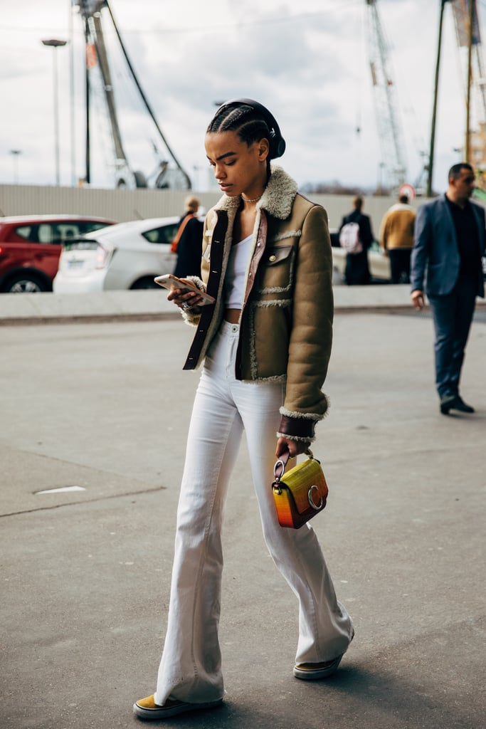 Pair your white jeans with a shearling-lined jacket.