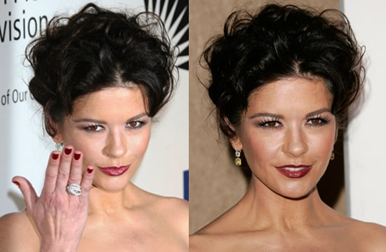 Photos of Actress Catherine Zeta-Jones With Matching Blood Red Lipstick and Nail Polish Plus Retro Big Hair.