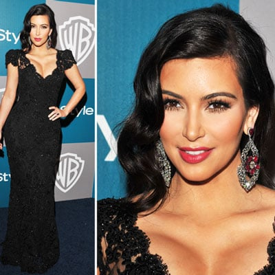 Kim Kardashian Sticks To Her Sultry Glamour For The Golden Globes After Party Circuit