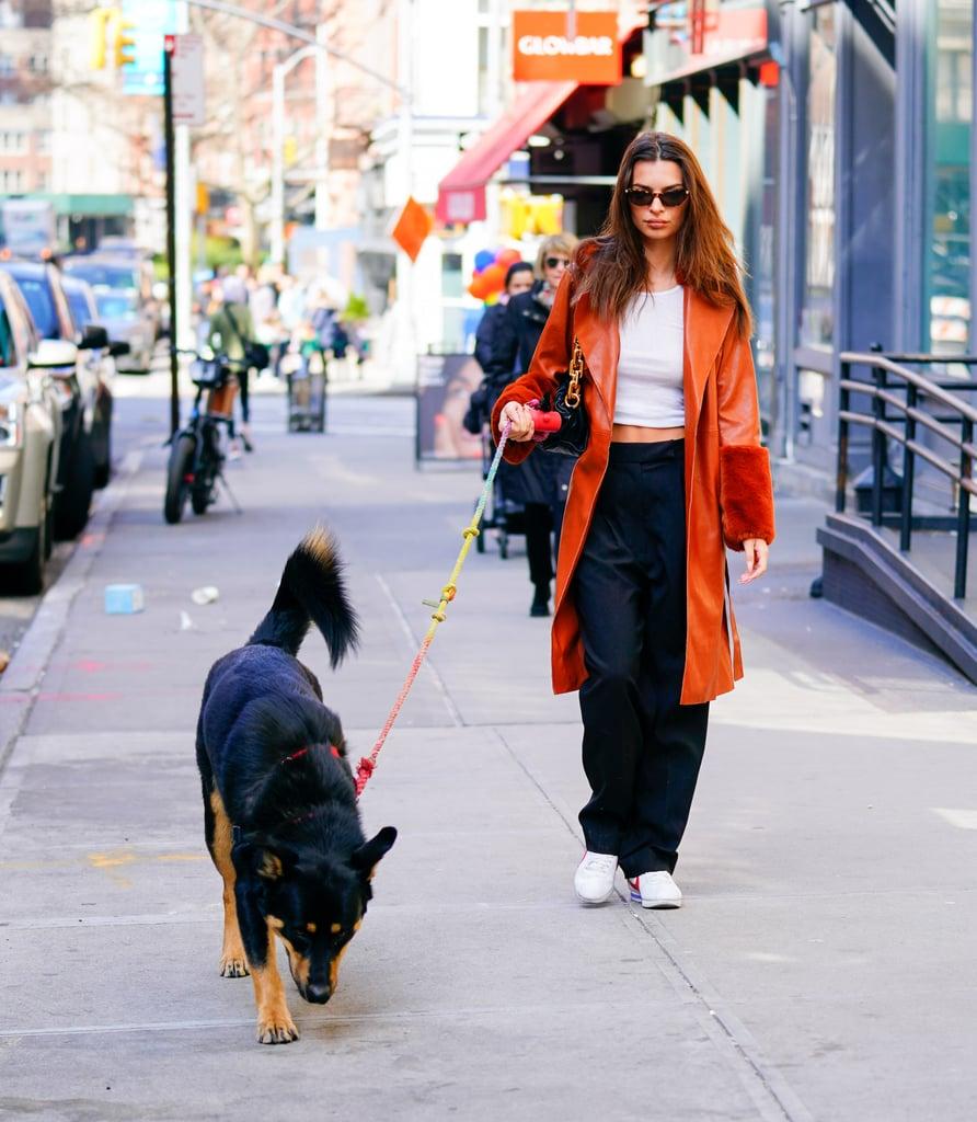Emily Ratajkowski Wearing a Faux-Fur Vegan Leather Coat in NYC