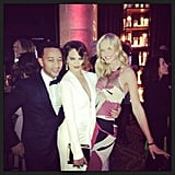 Anne V. met up with Chrissy Teigen and John Legend during the amfAR New York Gala. Source: Instagram user annev_official