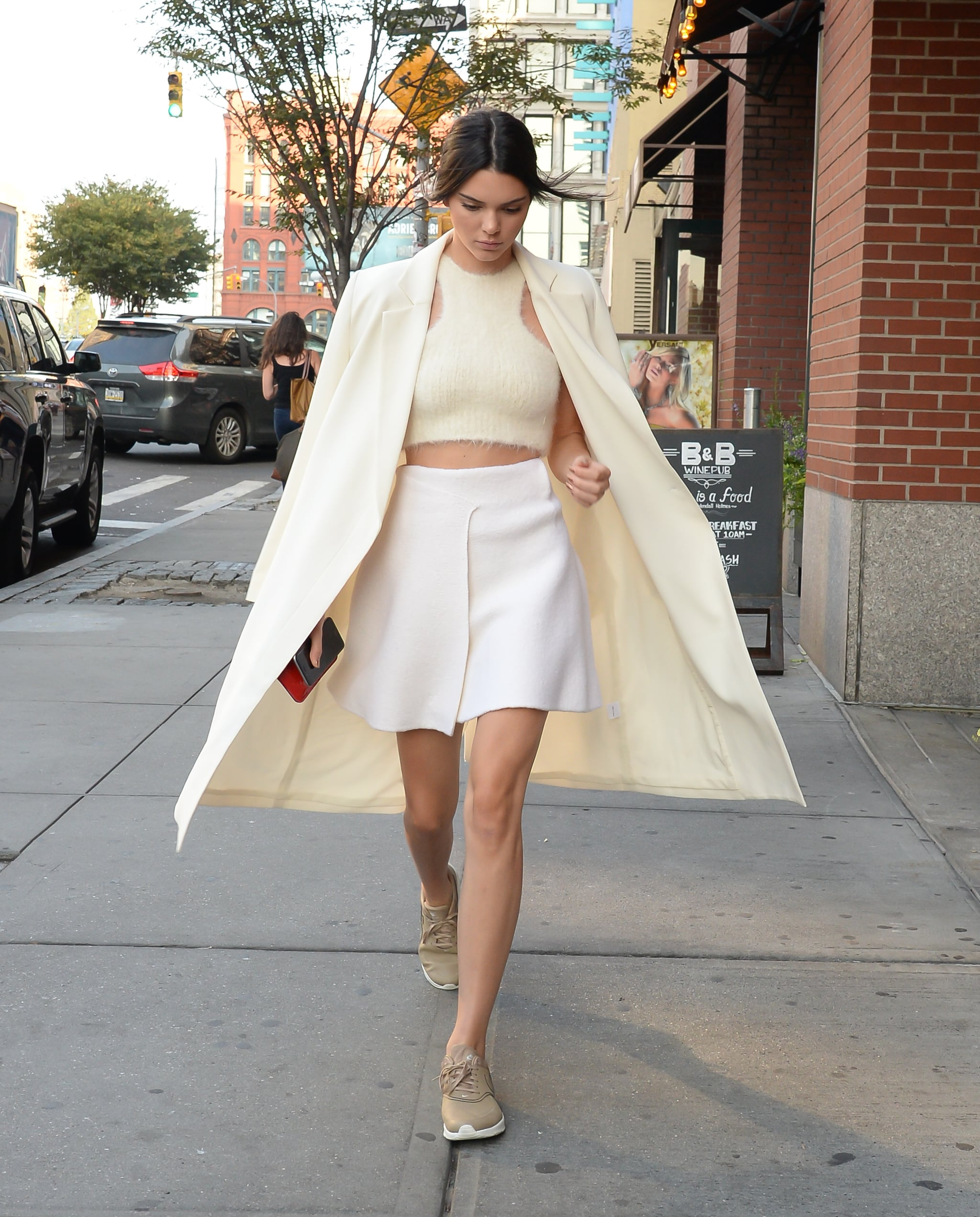 Kendall sneaker chic in an all white outfit of the day