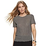 Nine West Petite Lettuce-Edge Short Sleeve Tee