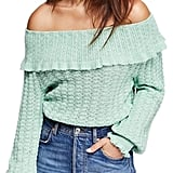 Free People Crazy in Love Ruffle Off-the-Shoulder Sweater