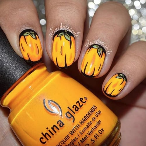 Pumpkin nail art ideas popsugar beauty prinsesfo Choice Image
