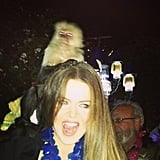 Khloe Kardashian made friends with a monkey this week.  Source: Instagram user khloekardashian