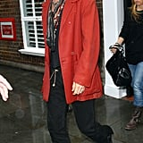 Johnny Depp wore a red blazer in London.