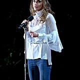 She Cinched Her Boho-Style Blouse With a Thin Silver Piece