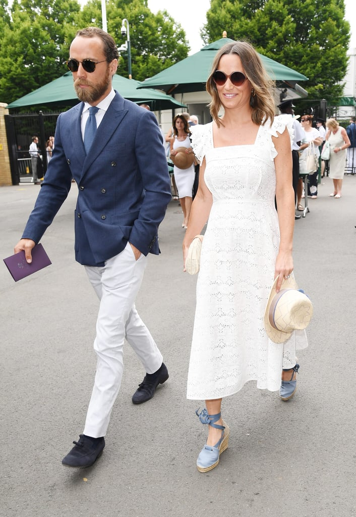 Stars have been holding court at Wimbledon since the annual tournament kicked off earlier this week, and on Thursday, Pippa Middleton popped up at the games in London with her hot, younger brother James, 31. The 34-year-old expectant mom made a stylish arrival in a white dress and espadrille wedges, while James looked dapper in a navy blazer complete with a matching tie. The only thing that would have made this outing even better was if Kate had joined them, but she's currently enjoying the rest of her maternity leave. Oh well, at least we still get to swoon over James. See more of Pippa and James's sibling outing ahead!      Related:                                                                                                           12 Things You Need to Know About Kate Middleton's Brother, James