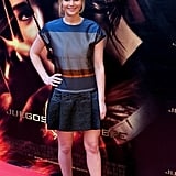 We love the bright jacquard striping and drop waist of this Victoria Beckham shift she wore to the Madrid premiere of The Hunger Games.