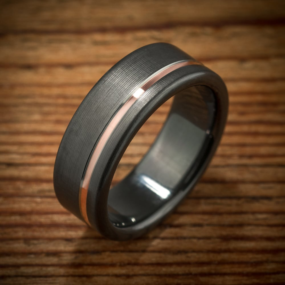 Rose Gold Black Zirconium Ring ($489)