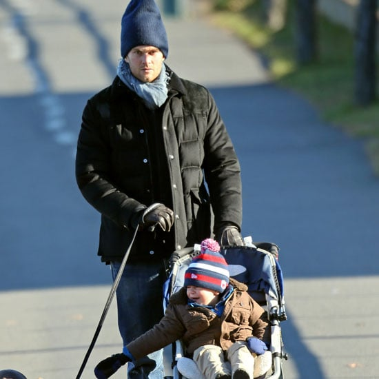 Tom Brady Walks With Benjamin Brady