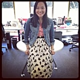 Jess looked cute and spring-suited in a Zara denim jacket, heart-printed ASOS skirt and S&B Vie T-shirt.