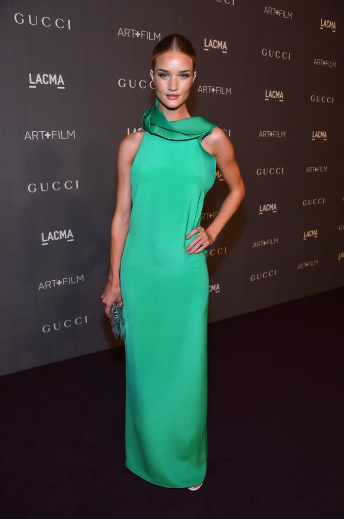 Rosie Huntington-Whiteley opted for a minimalist silhouette in a splash of pretty green on a gown from Gucci's Spring '13 collection.