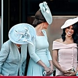 Camilla, Kate, and Meghan were all smiles during the June 2018 Trooping the Colour ceremony, which was Meghan's first time in attendance.