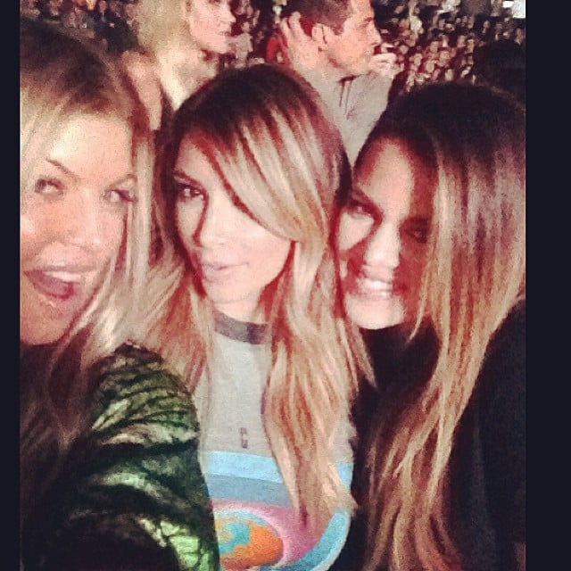 Kim and Khloé Kardashian were joined by new mom Fergie at Kanye West's Yeezus tour stop in LA. Source: Instagram user khloekardashian