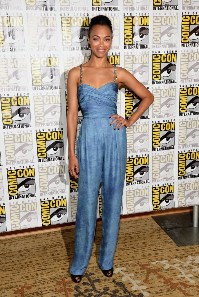 At Comic-Con, Zoe Saldana stepped onto the scene in a cool blue Balmain jumpsuit.