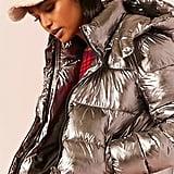 Forever 21 Metallic Hooded Puffer Jacket