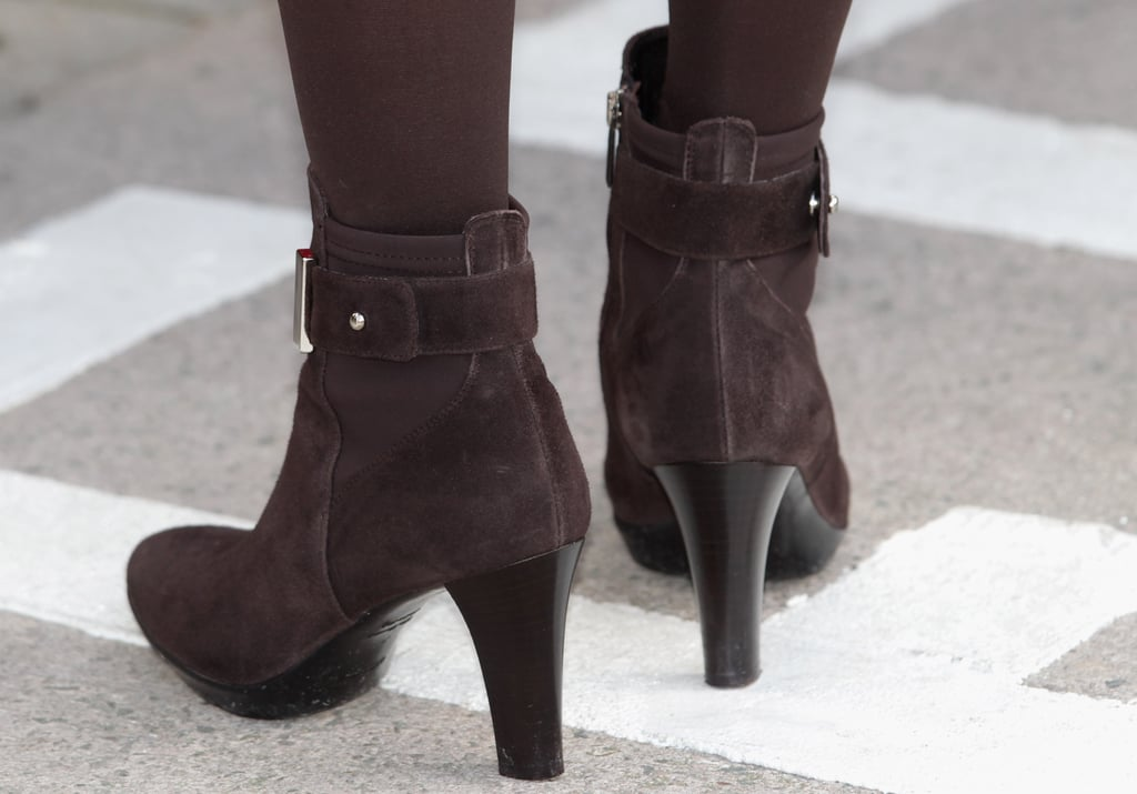 The brown suede ankle boots gave a younger feel to the look. They're from Aquatalia by Marvin K and are called Rouge.