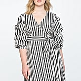 Eloquii Printed Tucked Puff Sleeve Wrap Dress