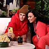 Photos of Justin Bieber and Demi Lovato on The Ellen DeGeneres Show