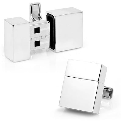 For the Tech-Savvy Grandpa: Silver USB Cufflinks
