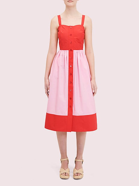 Colorblock Poplin Dress