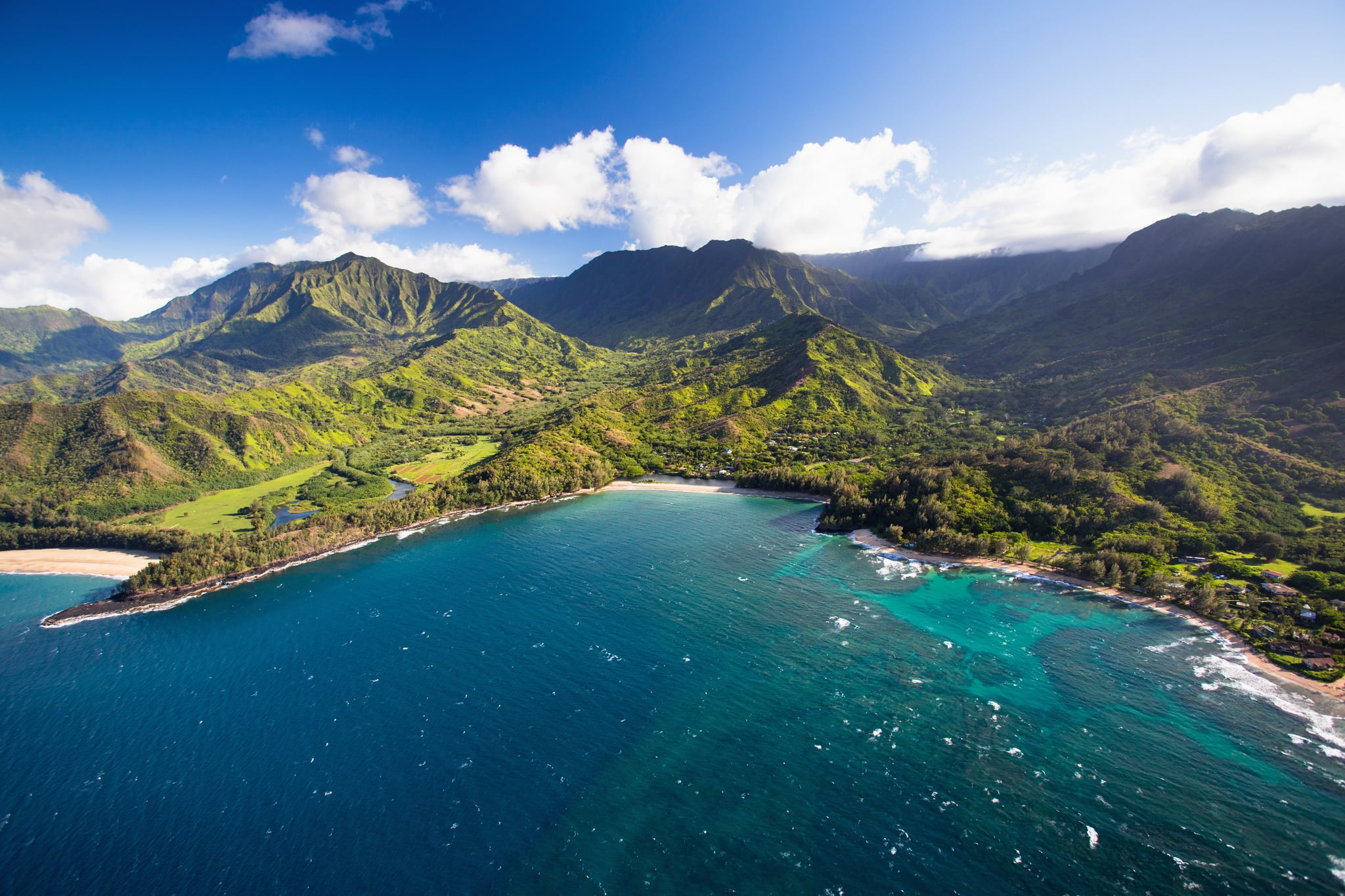 Scenic views of Kauai from above. Keâ??e Beach is at the end of the road on the North Shore.