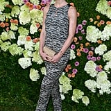 Hilary Rhoda wore a patterned number.