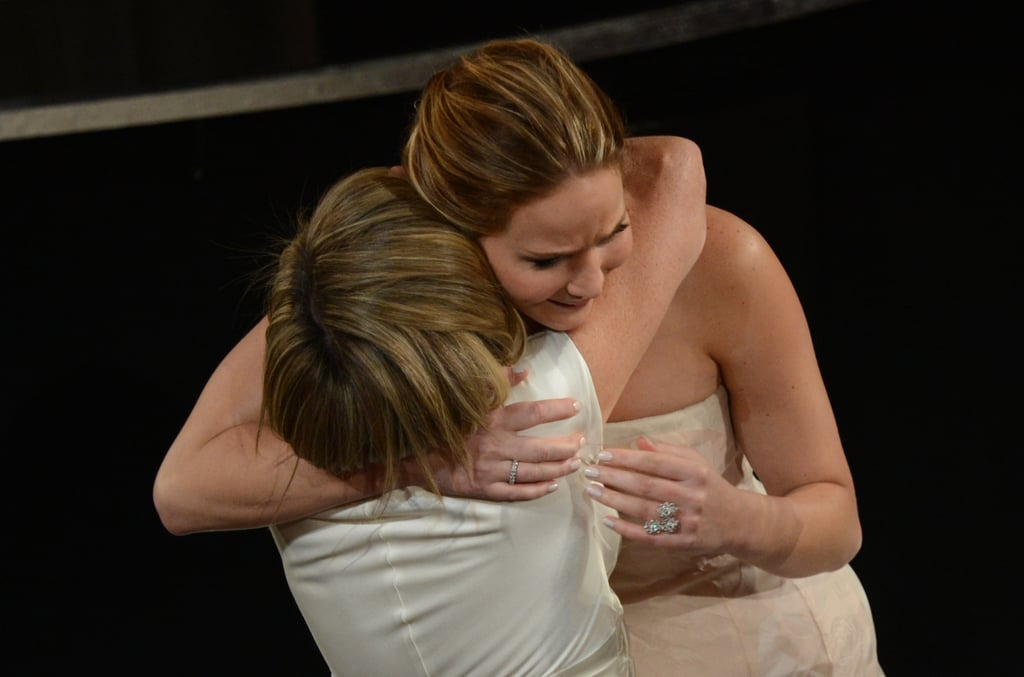 Jennifer Lawrence hugged her mom, Karen, after winning best actress at the Oscars 2013.