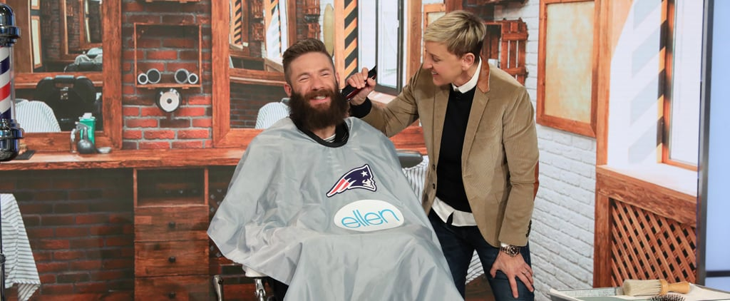 Ellen DeGeneres Shaves Julian Edelman's Beard Video