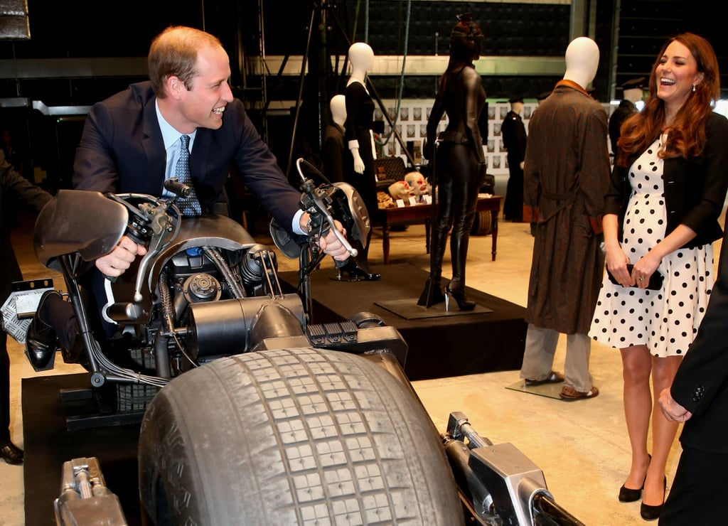 Kate couldn't control her laughter when William got on a motorcycle from The Dark Knight Rises during a Warner Bros. studio tour in London back in April 2013.
