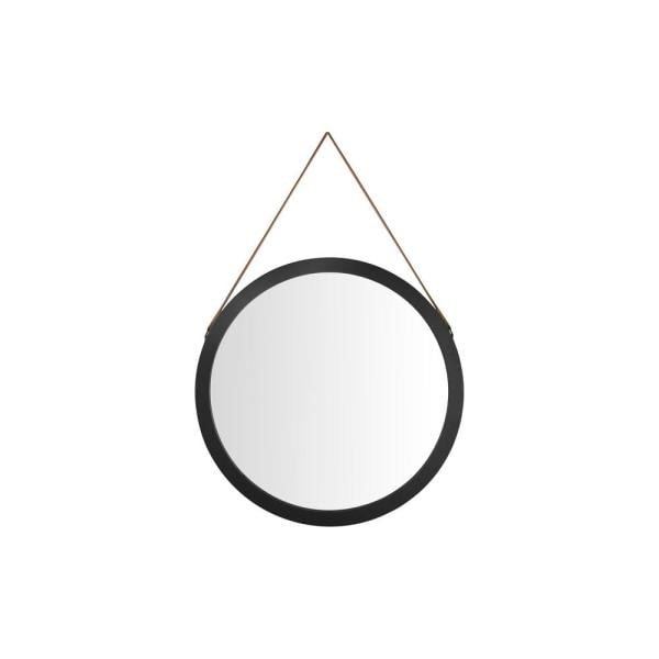 StyleWell Round Framed Black Metal Accent Mirror with Leather Strap