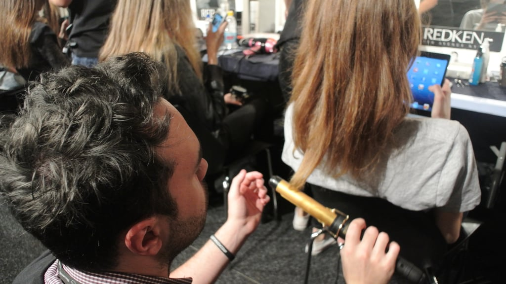 """Essentially, every girl should look as if they've done their own hair. We're taking a large curling iron and gently bending the hair and manipulating it into a soft bend so that when the girls' walk there's bounce and movement,"" he says. OPI is on nails for the show, using Dont Pretzel My Buttons on hands and toes."