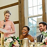 Make a toast or speech at the reception. Gather up bridesmaids for the bouquet toss, photos, and dancing. Make sure the bride eats and stays hydrated throughout the wedding. Help her reapply/fix makeup and hair. Help her pee in her dress. Take part in all the traditions. Be on the dance floor and encourage others to do the same. Round up guests for cake cutting.