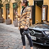 With an Animal-Print Jacket and Black Slingbacks