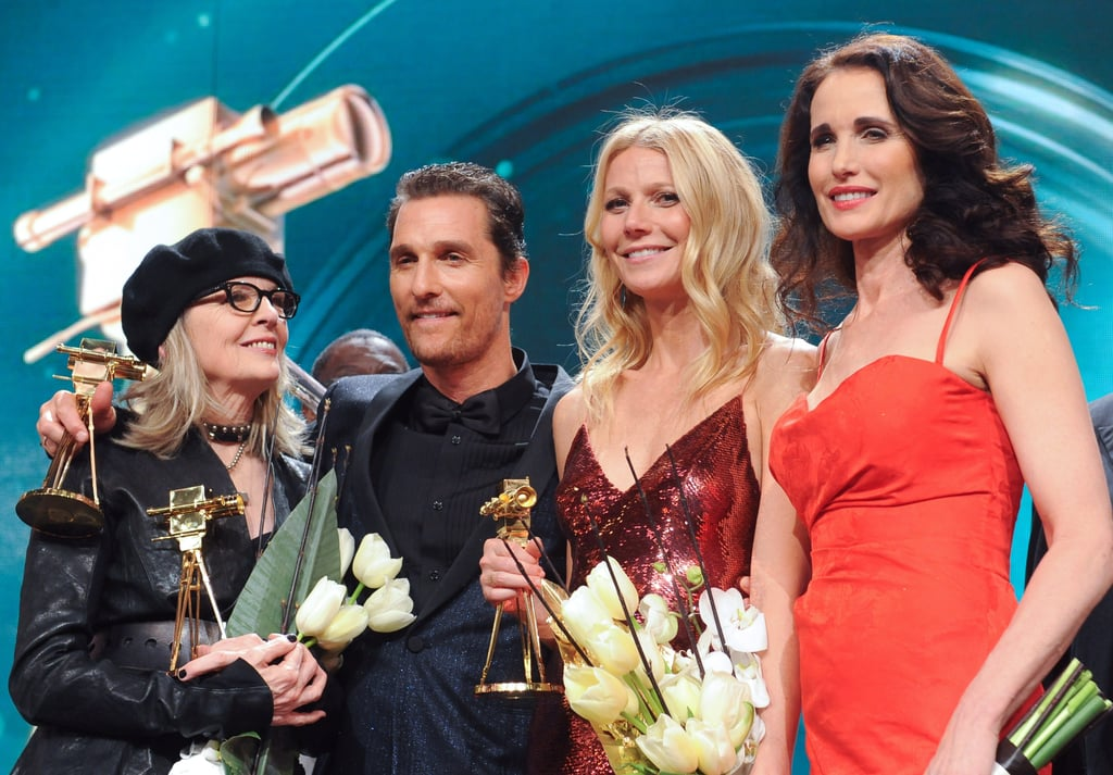 Gwyneth Paltrow caught up with pals, including Matthew McConaughey, Diane Keaton, and Andie MacDowell, at the Golden Camera awards in Berlin on Saturday.
