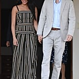 Meghan, Duchess of Sussex Wears A Striped Maxi Dress