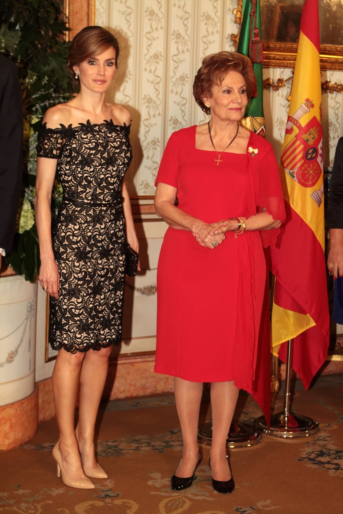 For a royal visit to Portugal in May 2012, the princess looked impeccable in an off-the-shoulder lace sheath — the perfect balance of subtle sex appeal and total polish.
