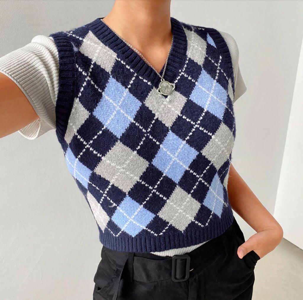 Avril Vintage Knit Plaid Sweater Vest
