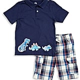 Dinosaur Polo and Plaid Shorts Set