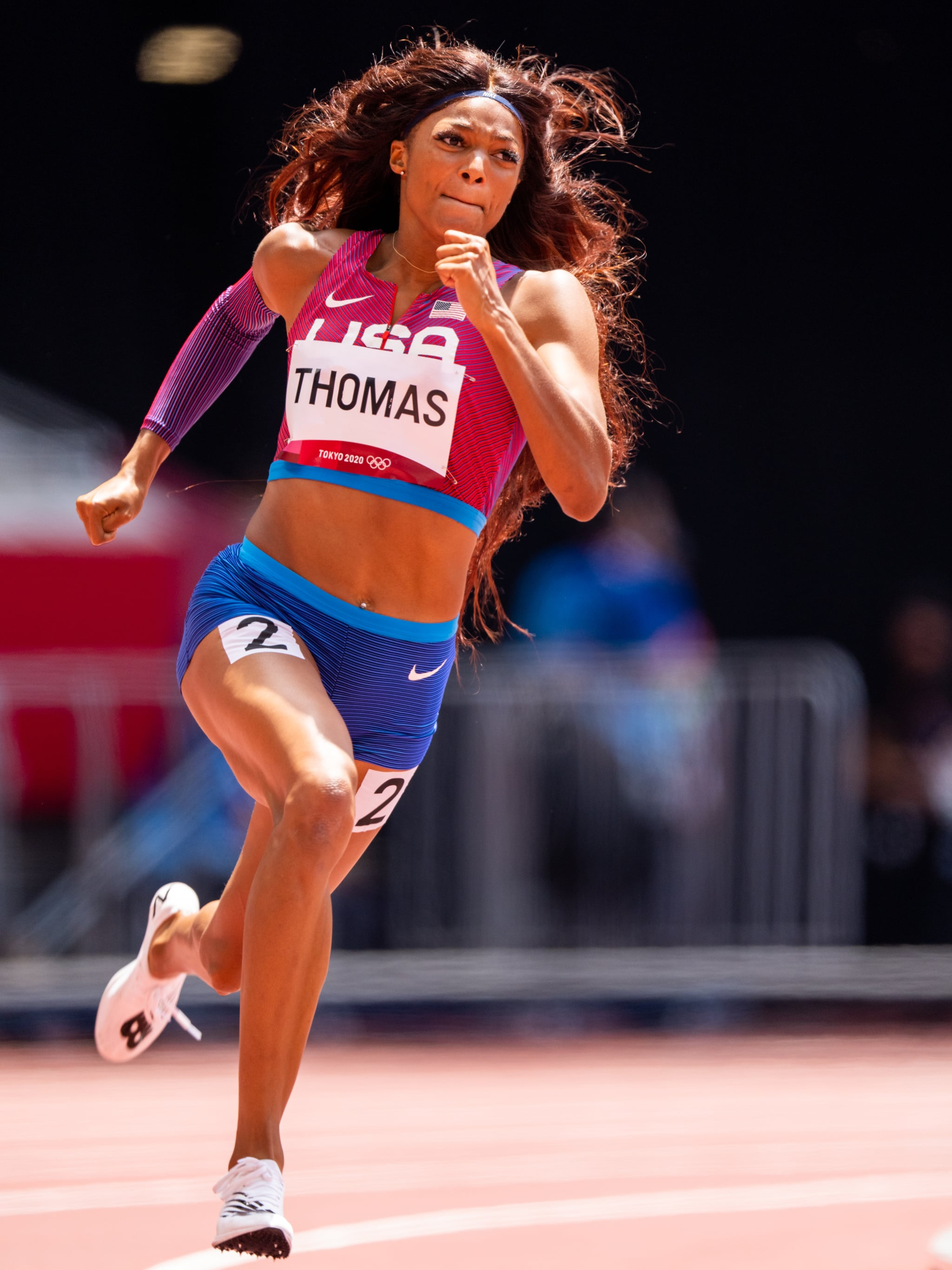 TOKYO, JAPAN - AUGUST 2: Gabrielle Thomas of United States of America competing in the Women's 200m Round 1 during the Tokyo 2020 Olympic Games at the Olympic Stadium on August 2, 2021 in Tokyo, Japan (Photo by Ronald Hoogendoorn/BSR Agency/Getty Images)