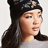 Forever 21 Floral Embroidered Beanie