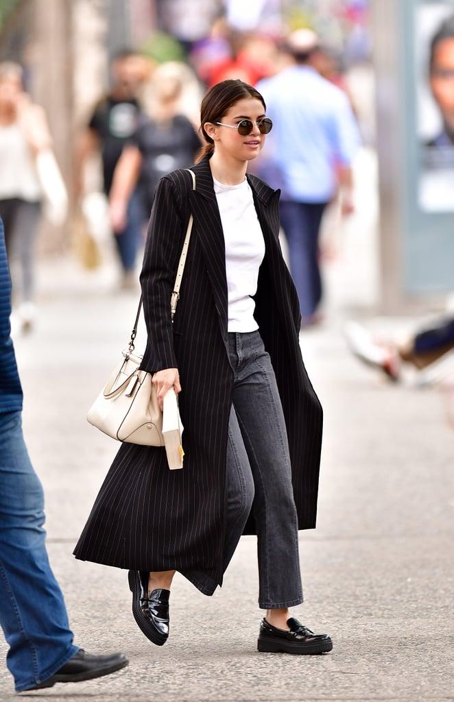 Selena Gomez Wearing Black Tod's Loafers