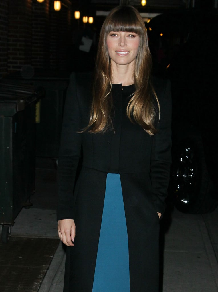 Jessica Biel wore a coat to keep warm in NYC.